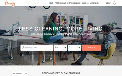 Screenshot of Home Page cleanify.com - Cleanify guarantees the best insured local cleaning services! - captured Nov. 5, 2015