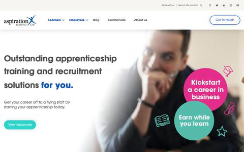 Screenshot of Home Page aspirationtraining.com - Aspiration Training | Apprenticeships | Enquire Today! - captured Oct. 13, 2019