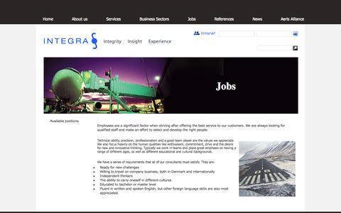 Screenshot of Jobs Page integra.dk - Jobs | Integra - captured Oct. 3, 2014