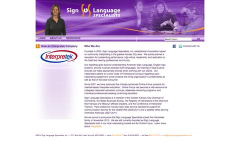 Screenshot of About Page signlanguagespecialists.com - About Us - Sign Language Specialists - captured Oct. 7, 2014