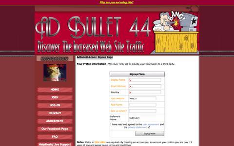 Screenshot of Signup Page adbullet44.com - AdBullet44 - captured Sept. 30, 2014