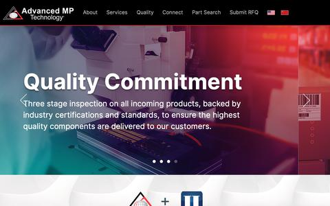 Screenshot of Home Page advancedmp.com - Advanced MP Technology | Global Distributor of Electronic Components - captured Feb. 14, 2019