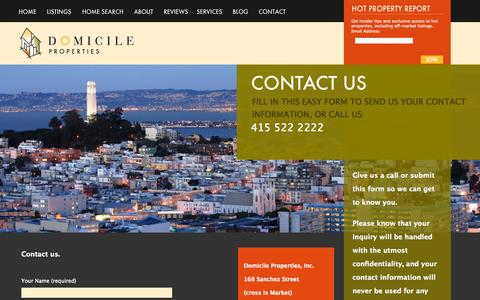 Screenshot of Contact Page domicileproperties.com - CONTACT US «  Domicile Properties - captured Sept. 30, 2014