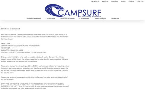 Screenshot of Maps & Directions Page campsurf.com - Directions - Campsurf - captured July 15, 2018