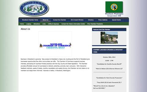 Screenshot of About Page woodlandwachamber.com - About Us - Woodland Chamber of Commerce - captured Oct. 26, 2014