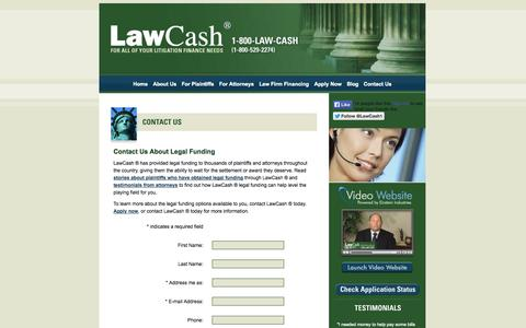 Screenshot of Contact Page Locations Page Maps & Directions Page lawcash.net - Legal Funding – Contact LawCash ® For More Information - captured Sept. 29, 2014