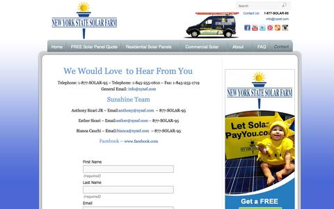 Screenshot of Contact Page nyssf.com - Contact New York State Solar Farm Hudson Valley - captured Oct. 7, 2014