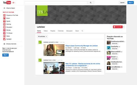 Screenshot of YouTube Page youtube.com - Letslaw  - YouTube - captured Oct. 22, 2014