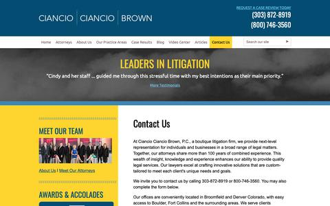 Screenshot of Contact Page colo-law.com - Contact Lawyers Ciancio Ciancio Brown, P.C. 303-872-8919 - captured Sept. 28, 2018