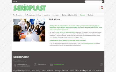 Screenshot of Jobs Page serioplast.com - Work with us     Serioplast spa - captured July 4, 2018