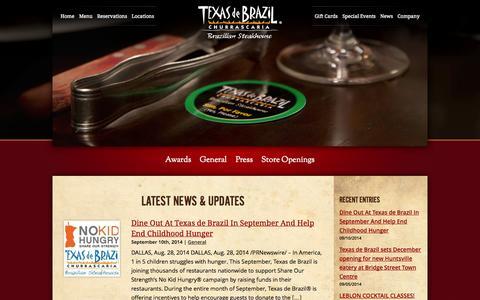 Screenshot of Press Page texasdebrazil.com - News | Texas de Brazil - Brazilian Steakhouse - captured Sept. 19, 2014
