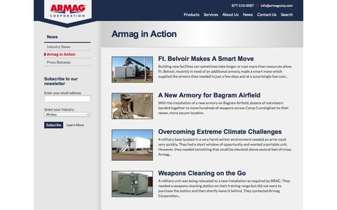 Screenshot of Case Studies Page armagcorp.com - Armag in Action | Armag Corporation - captured Oct. 4, 2014