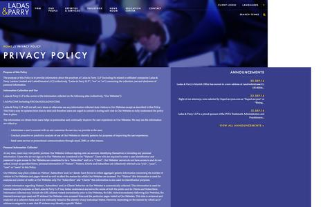 Screenshot of Privacy Page ladas.com - Privacy Policy - Ladas & Parry LLP - captured Oct. 1, 2014