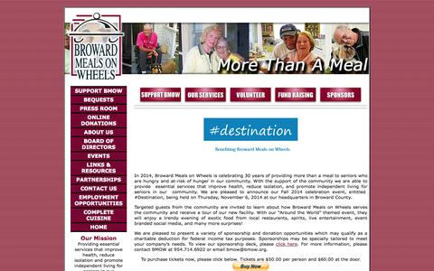 Screenshot of Home Page bmow.org - Meals on Wheels - captured Oct. 5, 2014