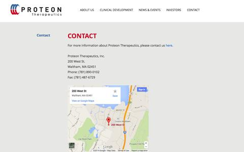 Screenshot of Contact Page proteontherapeutics.com - Contact | About Us | Proteon Therapeutics - captured Sept. 17, 2014
