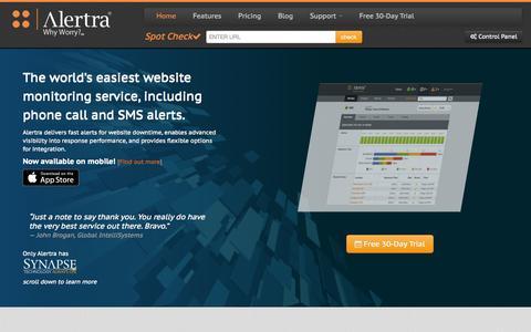 Screenshot of Home Page alertra.com - Website Monitoring Service, Website Uptime & Site Monitor: Alertra - captured Sept. 23, 2014
