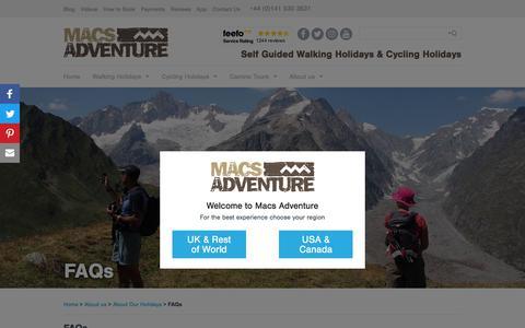 Screenshot of FAQ Page macsadventure.com - Walking and Cycling Holiday FAQs | Adventure Travel Questions | Macs Adventure - captured July 14, 2018