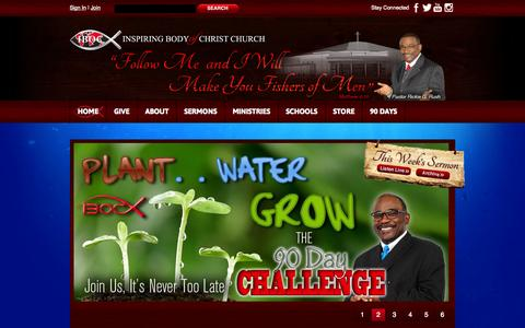 Screenshot of Home Page ibocchurch.org - Non-Denominational Christ-Centered Church ministered by Pastor Rickie G.Rush - captured Oct. 3, 2014