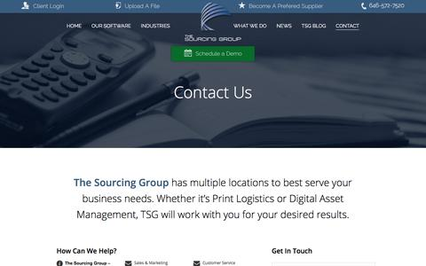 Screenshot of Contact Page Services Page Demo Page thesourcinggroup.com - Print Logistics | Contact Us | The Sourcing Group - captured Nov. 17, 2017