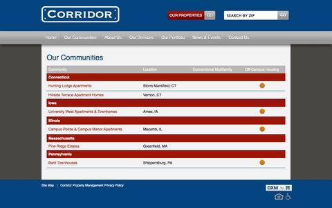 Screenshot of Locations Page corridorpropertymanagement.com - Corridor Property Management Find Your Home - captured Oct. 3, 2014