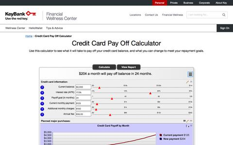 Credit Card Pay Off Calculator | KeyBank