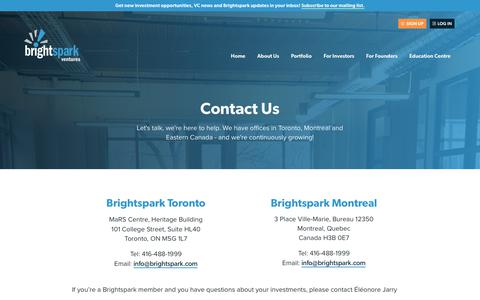 Screenshot of Contact Page brightspark.com - Contact Us | Brightspark Ventures - captured June 3, 2017
