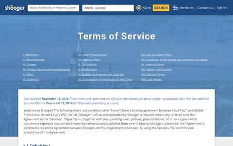 Shooger – Terms of Service