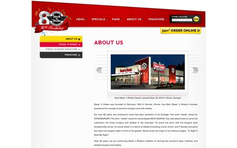 Screenshot of About Page steaknshake.com - About Us | Steak 'n Shake - captured Sept. 22, 2014