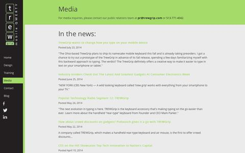 Screenshot of Press Page trewgrip.com - Media -  TREWGrip Mobile QWERTY - captured Oct. 7, 2014