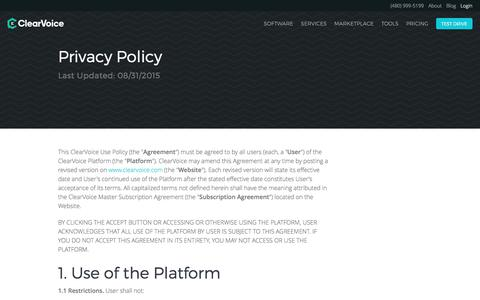Privacy and Terms of Use | ClearVoice