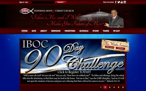 Screenshot of Home Page ibocchurch.org - Non-Denominational Christ-Centered Church ministered by Pastor Rickie G.Rush - captured Jan. 23, 2015