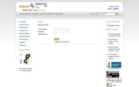 Screenshot of Login Page headsetadapter.com - Headset Adapter Co. - captured Oct. 2, 2014