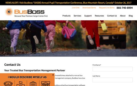 Screenshot of Contact Page busboss.com - Contact Us: Your Trusted Bus Transportation Management Partner - captured Oct. 21, 2017