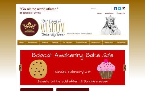 Screenshot of Home Page txstatecatholic.org - Our Lady of Wisdom University Parish | San Marcos, TX - captured Feb. 15, 2016