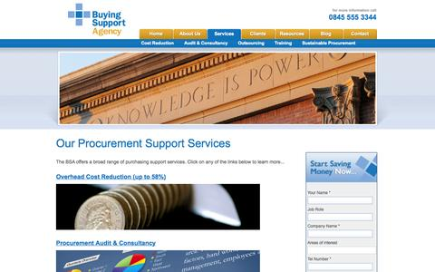 Screenshot of Services Page buyingsupport.co.uk - Buying agency providing consultancy, training and procurement advice, get our procurement audit - captured Oct. 5, 2014