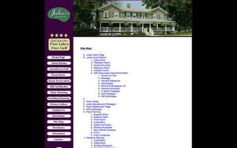 Screenshot of Site Map Page juliasbb.com - Welcome to Julia's Bed and Breakfast Inn, Hubbard, Ohio - captured Oct. 6, 2014