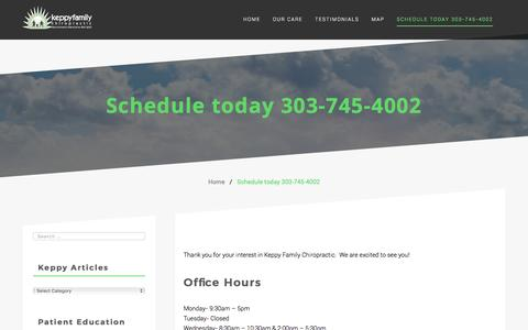Screenshot of Hours Page drkeppy.com - Schedule today 303-745-4002 – Keppy Family Chiropractic - captured Nov. 27, 2016