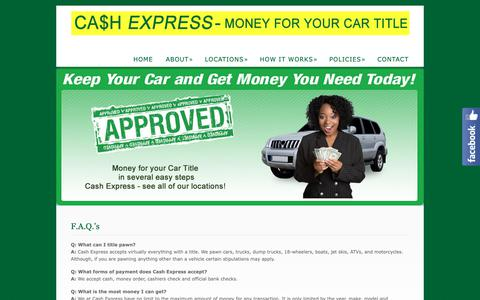 Screenshot of FAQ Page cashexpressga.com - F.A.Q.'s  @  Cash Express - captured Sept. 27, 2018
