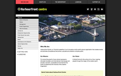 Screenshot of About Page harbourfrontcentre.com - Harbourfront Centre 					- About Us - captured Sept. 19, 2014