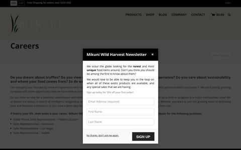 Screenshot of Jobs Page mikuniwildharvest.com - Careers | Mikuni Wild Harvest - captured Dec. 20, 2016