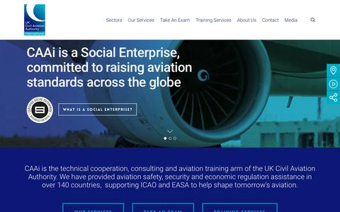 Screenshot of Home Page caainternational.com - CAA International (CAAi) | Aviation Training and Consulting by the UK CAA - captured July 14, 2018