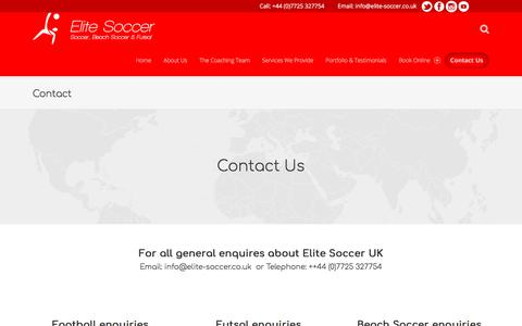 Screenshot of Contact Page elite-soccer.co.uk - Contact – Elite Soccer - captured July 29, 2017