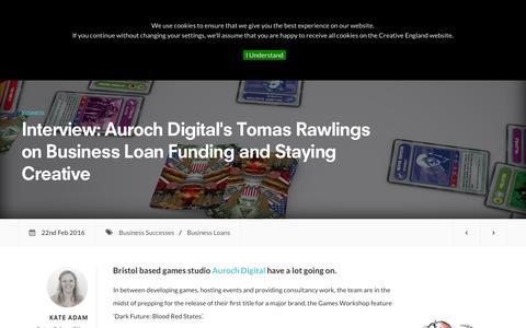 Screenshot of creativeengland.co.uk - Interview: Auroch Digital's Tomas Rawlings on Business Loan Funding and Staying Creative | Creative England - captured March 19, 2016
