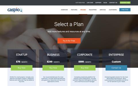 Screenshot of Pricing Page caspio.com - Caspio Pricing | Review and Compare Plans - Caspio - captured Oct. 2, 2015