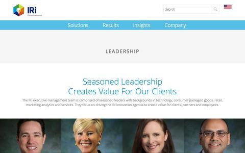 Screenshot of Team Page iriworldwide.com - Leadership - IRI - captured Jan. 19, 2018