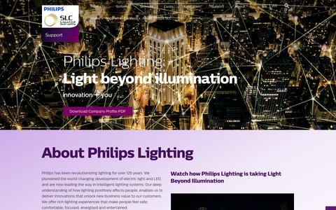 Screenshot of About Page philips.com - About Philips SLC - Philips Lighting - captured Nov. 18, 2016