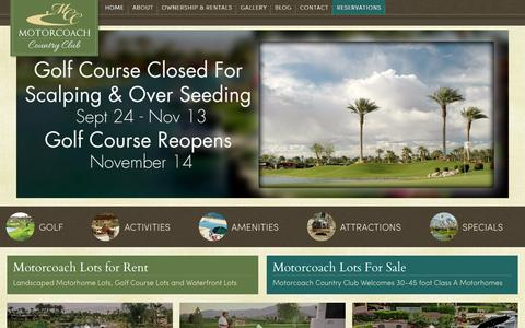 Screenshot of Home Page motorcoachcc.com - Motorcoach Country Club Luxury RV Resort, RV Park Indio, CA 92201 - captured Sept. 12, 2015