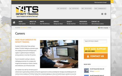 Screenshot of Jobs Page itsparts.com - Careers | ITS Infinity Trading - captured Oct. 3, 2014