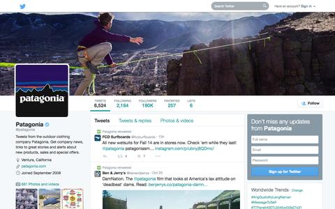 Screenshot of Twitter Page twitter.com - Patagonia (@patagonia) | Twitter - captured Oct. 22, 2014