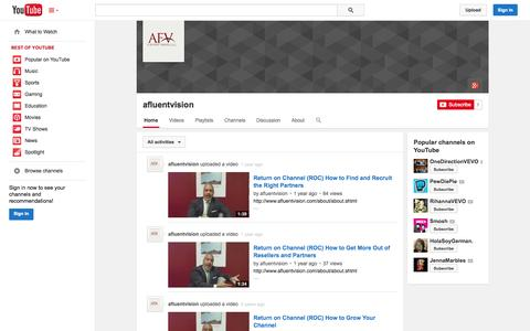 Screenshot of YouTube Page youtube.com - afluentvision  - YouTube - captured Oct. 22, 2014
